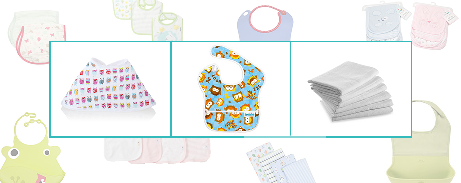 Bibs, Burp Cloths, and Mats, Bumkins Waterproof Superbib, Dundee Burp Cloths, and Aden + Anais muslin burpy bibs