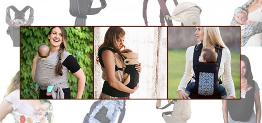 Baby carrier photo montage, Beco Gemini, Boba wrap, Ergobaby 360 carrier