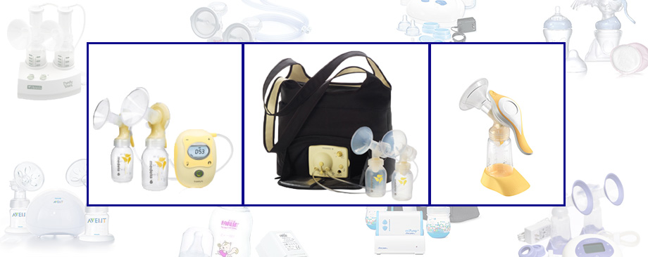 Breast pump photo montage, Medela Freestyle on the go, Pump In Style, Harmony manual pump