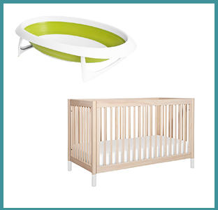 giggle babyletto crib and boon bath tub with weeSpring