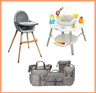 Skip Hop high chair, activity gym, diaper bag seat in Feather, weeSpring giveaway
