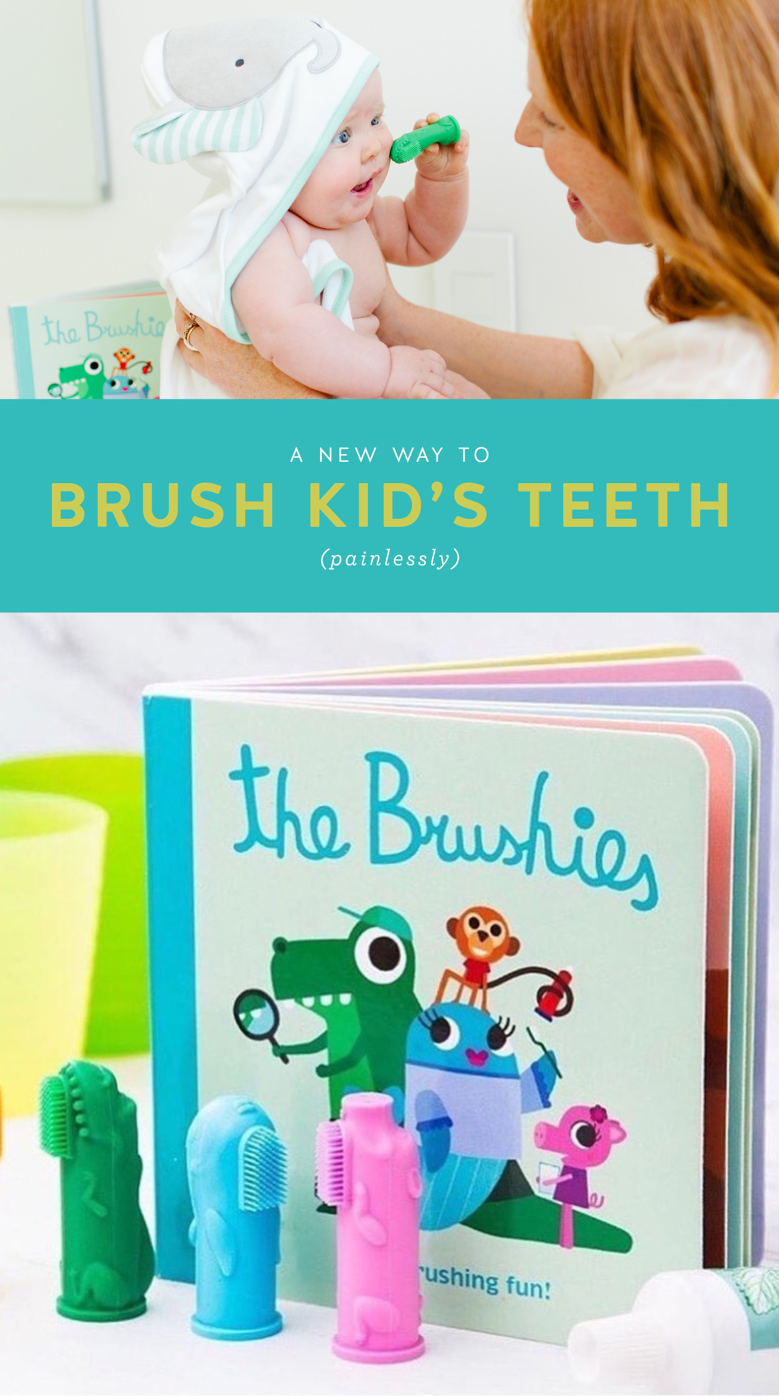 Mom helps baby brush teeth with brushies. Brushies book and toothbrushes.