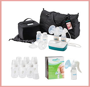 Evenflo Advanced double electric breast pump, balance bottles, manual pump, weeSpring giveaway