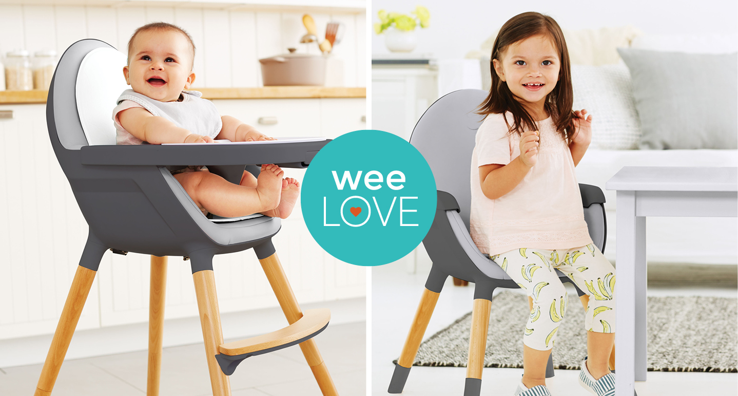 Baby and Girl use Skip Hop Highchair