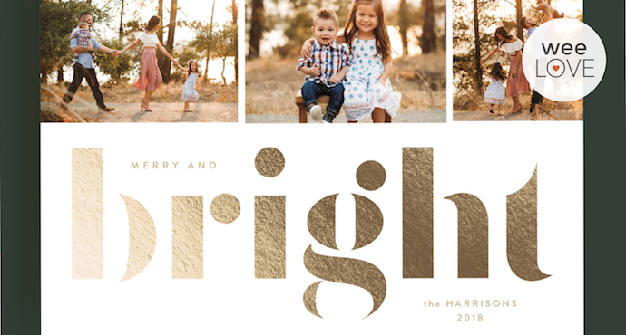 "holiday photo card from minted that reads ""bright"" in shiny gold letters"