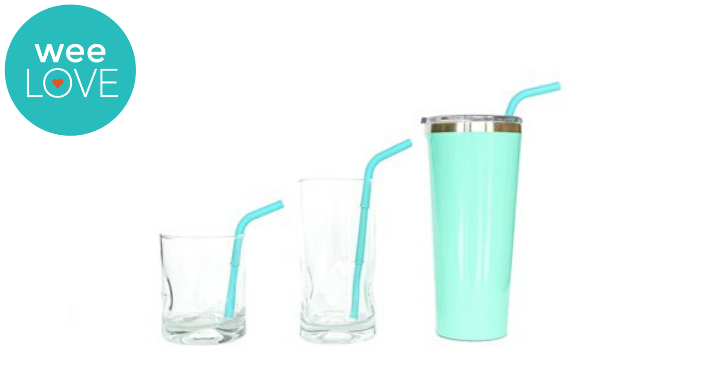 three different size glasses, each with a buildable straw to fit