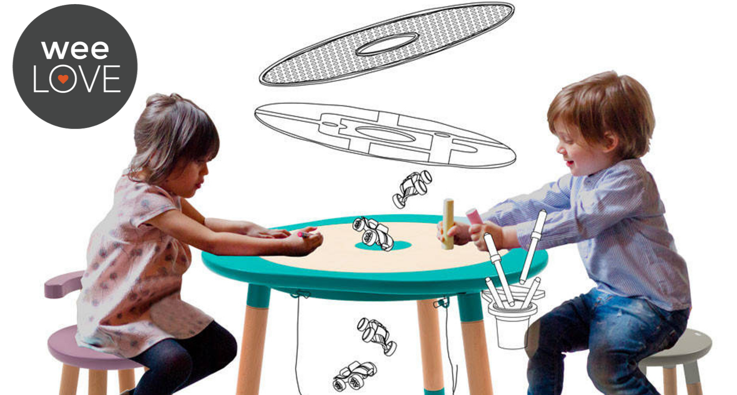 A toddler girl sits at the Mutable table with another toddler boy, both are coloring, while drawn illustrations show the different table tops and accessories