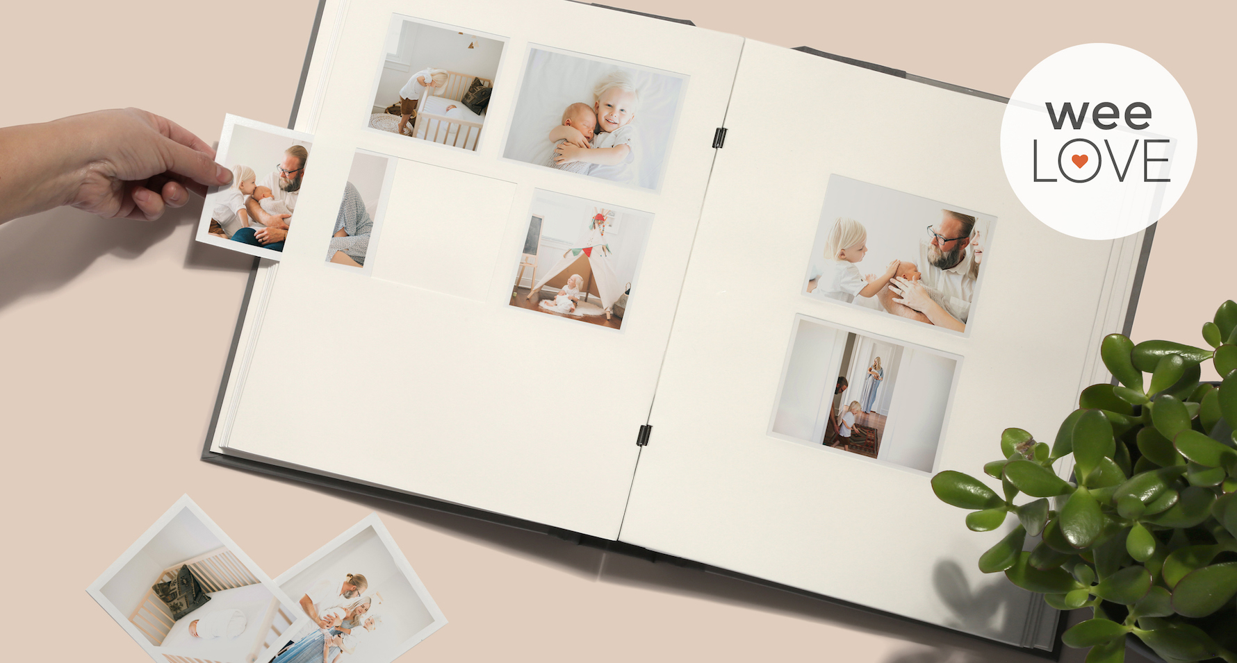 a overhead picture of a photo album with photographs