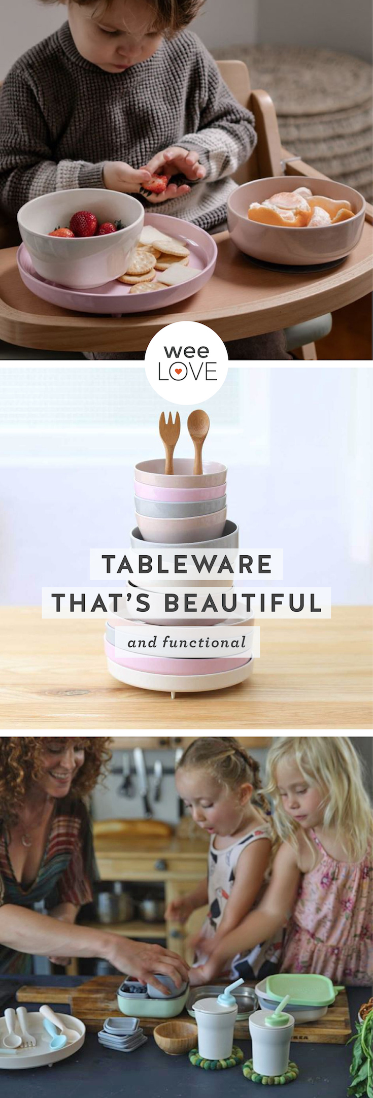 "stacked dishes and cups from miniware with a tagline that reads ""tableware that's beautiful and functional"""