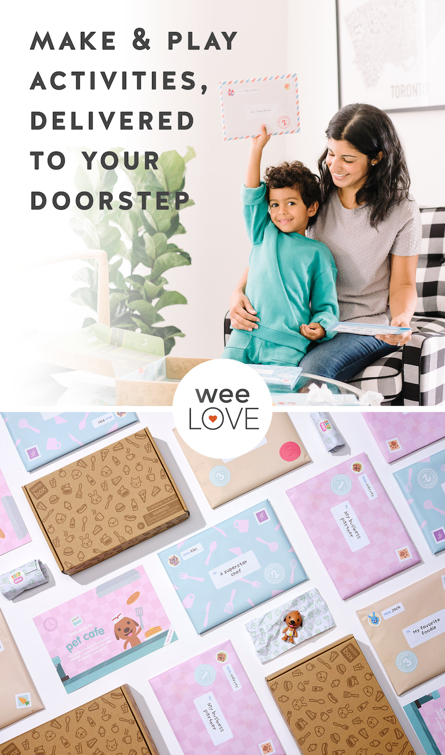 "a two-part image, with the top photo of a mom and son excitedly sitting in a chair together, looking at their Sago Mini subscription box with the overlay text reading ""make and play activities, delivered to your doorstep."" The bottom image is a flat-lay of items found in a typical Sago Mini subscription box"
